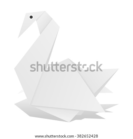 Origami swan on a white background.