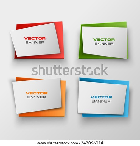 Origami  Vector infographic colorful banners set - stock vector