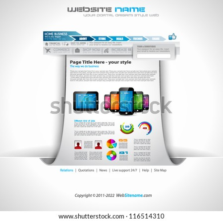Origami Website - Elegant Design for Business Presentations. Every Shadow is transparent - stock vector