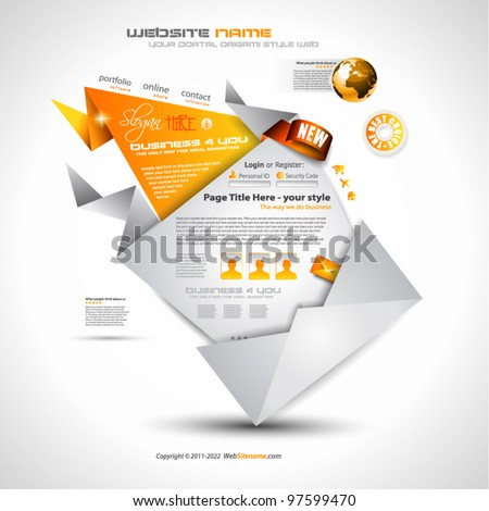 Origami Website - Elegant Design for Business Presentations. Template with a lot of design elements. Shadows are Transparent - stock vector