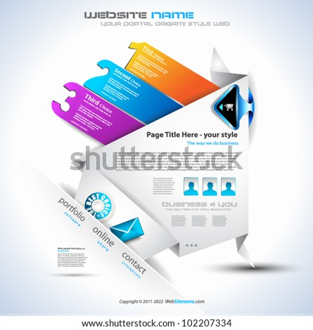 Origami Website - Elegant Design for Business Presentations. Template with a 3 side choices panel. Transparent shadows. - stock vector