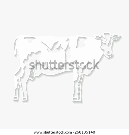 Origami  white cow on a gray background. Vector illustration - stock vector