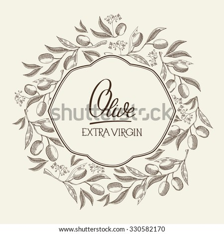 Origin olive. Hand drawing background. vintage style background.  Vector Illustration, eps10, contains transparencies. - stock vector