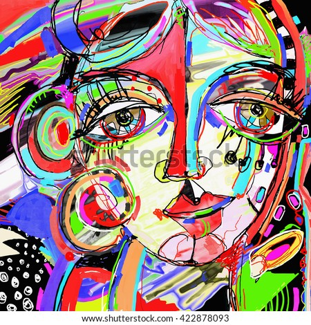 Original Abstract Digital Painting Human Face Stock Vector ...