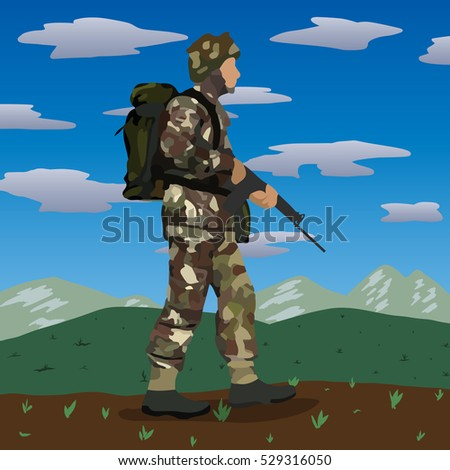 Original abstract image of British soldier circa 1982 Falklands War at the Port Stanley, Mt. London and Goose Green battles.