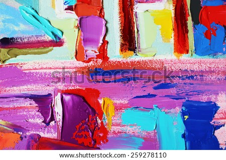 original abstract oil painting on canvas, vector version - stock vector