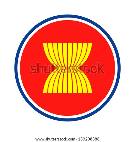 original and simple Asean Economic Community icon isolated vector in official colors and Proportion Correctly on white background (AEC icon)