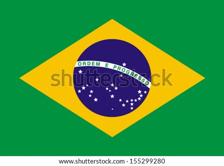 original and simple Brazil flag isolated vector in official colors and Proportion Correctly - stock vector