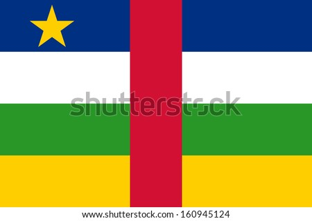original and simple Central African Republic flag isolated vector in official colors and Proportion Correctly