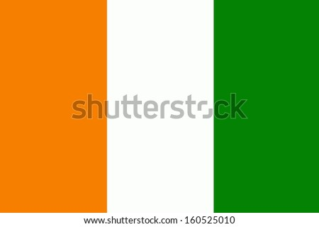 original and simple Ivory Coast flag isolated vector in official colors and Proportion Correctly