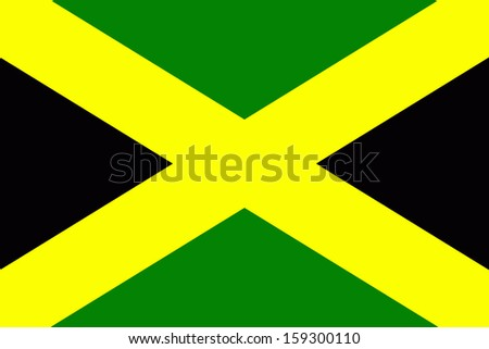 original and simple Jamaica flag isolated vector in official colors  and Proportion Correctly - stock vector