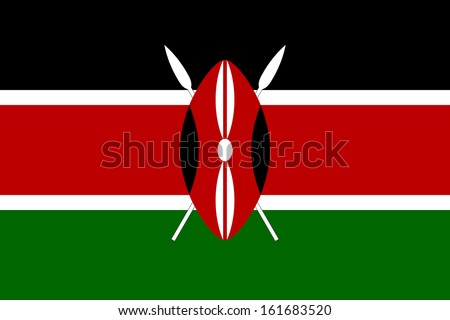 original and simple Kenya flag isolated vector in official colors and Proportion Correctly
