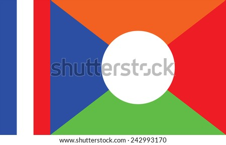 Original and simple La Reunion flag isolated vector in official colors and Proportion Correctly.  flag of Reunion vector illustration isolated on white background. - stock vector