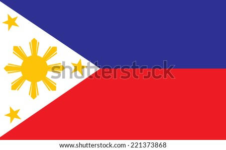 original and simple Republic of The Philippines flag isolated vector  - stock vector