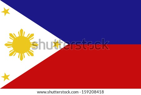 original and simple Republic of The Philippines flag isolated vector in official colors  and Proportion Correctly The Philippines is a member of Asean Economic Community (AEC) - stock vector