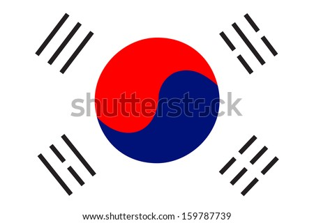 original and simple South Korea flag isolated vector in official colors and Proportion Correctly