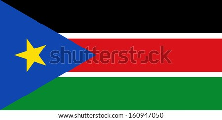 original and simple  South Sudan (SABC) flag isolated vector in official colors and Proportion Correctly - stock vector