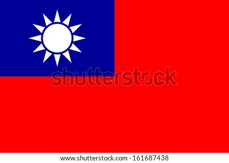 original and simple Taiwan / Republic of China flag isolated vector in official colors and Proportion Correctly - stock vector