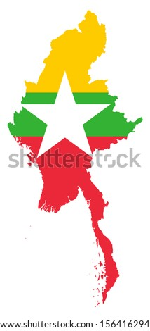 original and simple Union of Myanmar or Burma map and flag isolated vector in official colors on white background The Myanmar or Burma is a member of Asean Economic Community (AEC) - stock vector