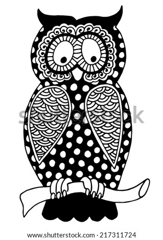 original artwork of owl, ink hand drawing in ethnic style, vector illustration in black end white colors - stock vector