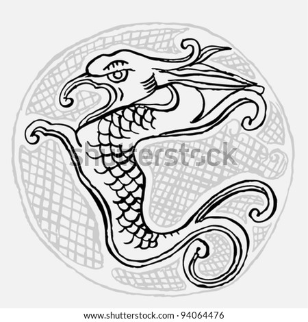 Original black and white drawing of an dragon on white background - stock vector