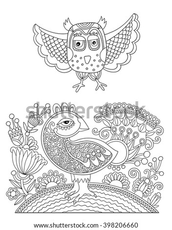 original black and white line drawing page of coloring book bird and flower joy to older children and adult colorists, who like line art and creation, vector illustration - stock vector