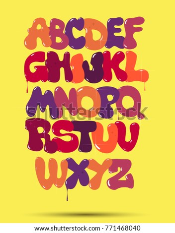 Original Bubble Graffiti Font On A Yellow Background Vector