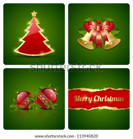 Original Christmas card made of four decorative elements - stock vector