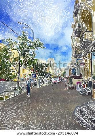 original digital drawing of Kyiv city street, Ukraine, vector illustration - stock vector