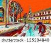original digital painting of winter cityscape. Modern Impressionism. Vector version - stock photo