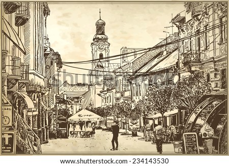 original digital sketch vector illustration of Uzhgorod cityscape on old paper background, Ukraine - stock vector