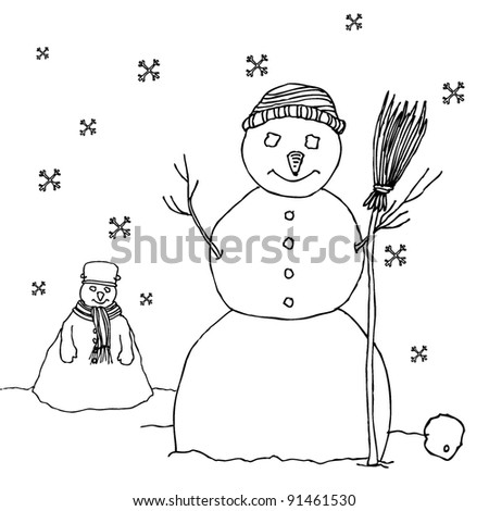 Original Snowman Drawings Original Drawing of Two