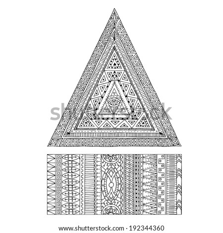 Original drawing tribal doddle triangle. Tribal texture. Series of image Template frame design for card.