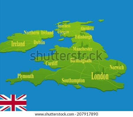 Original England map with a national flag - stock vector