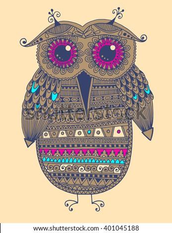 original ethnic owl ink drawing, vector illustration - stock vector