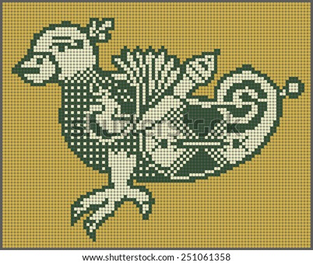 original ethnic pixel bird design in folk style for cross stitch embroidery or sewing by a bead and other needlework hobby, vector illustration - stock vector