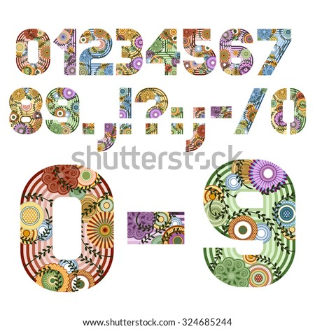 Original font decorated funky letters from A to M, EPS 8. - stock vector