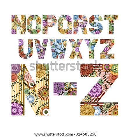 Original font decorated funky letters from N to Z, EPS 8. - stock vector