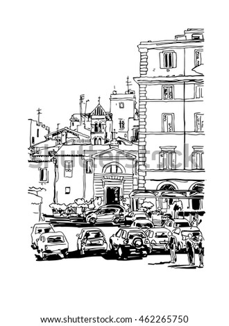 original freehand black and white ink sketch travel card from Rome Italy, old italian imperial building with people walking and cars, travel book vector illustration