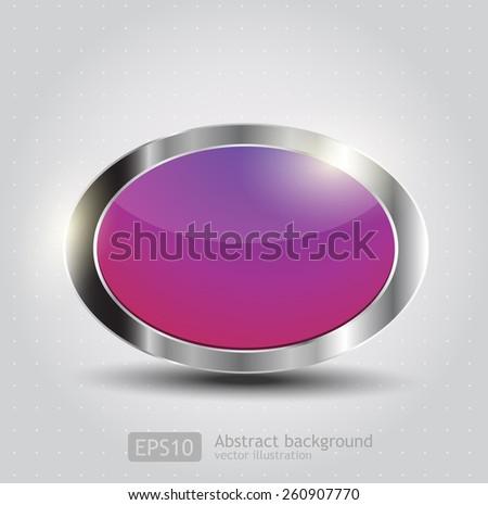 Original glossy oval button. Vector  - stock vector