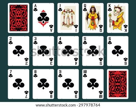 Original Halloween Playing Cards - Clubs Set. Contain all numbers from 2 to 10 plus Ace, Jack (Bones Lamp), Queen (Bones Empress), King (Bones Emperor) and Back Design. - stock vector