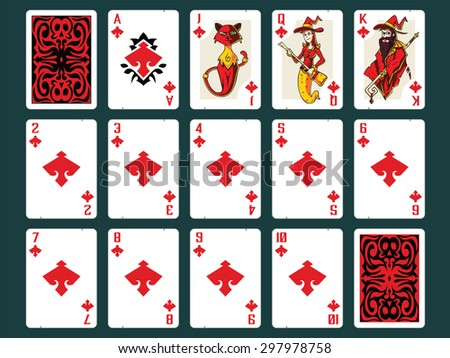 Original Halloween Playing Cards - Diamonds Set. Contain all numbers from 2 to 10 plus Ace, Jack (cat), Queen (witch), King (wizard) and Back Design. - stock vector
