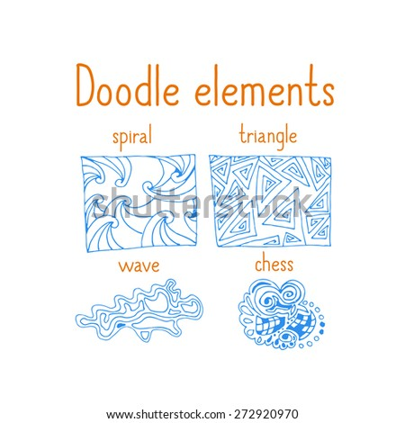 Original hand drawn doodles elements, isolated on white background. Vector illustration.