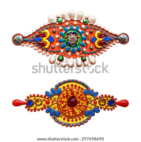 original handmade ornamental ethnic design element with jewel and gold in decorative indian style, vector illustration - stock vector