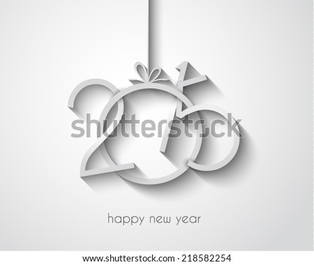 Original 2015 happy new year modern background with flat style text and soft shadows. - stock vector