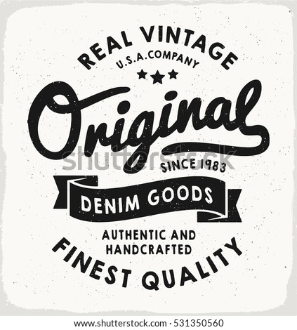 Original heritage denim print black white stock vector for T shirt printing for schools