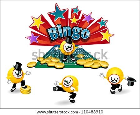 original illustrated bingo ball character with variety of poses - stock vector