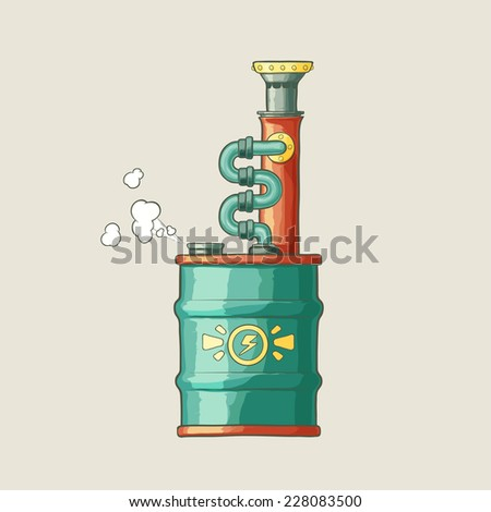 Original illustration of a steampunk styled boiler from barrel with steam and red pipe on a plain background - stock vector