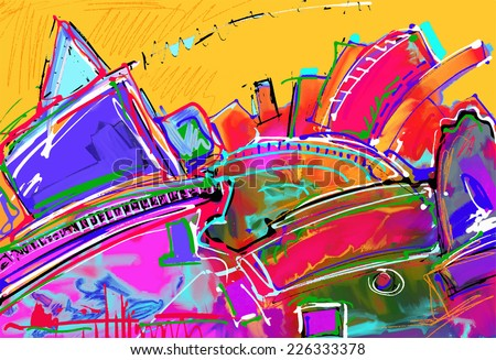 original illustration of abstract art digital painting, vector version - stock vector
