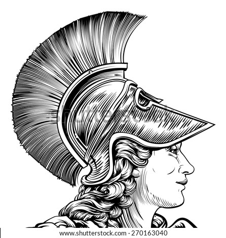 Original illustration of an ancient Greek warrior woman in vintage style. Possible Athena, Hera, or Britannia - stock vector